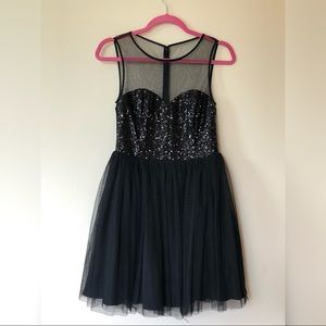 NWT Black sequin tulle cocktail party dress
